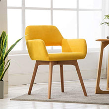 Load image into Gallery viewer, (Set of 2) Modern Living Dining Room Accent Arm Chairs Club Guest with Solid Wood Legs (Yellow) - EK CHIC HOME