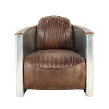 Load image into Gallery viewer, Luxurious Retro Brown Leather & Aluminum Chair - EK CHIC HOME