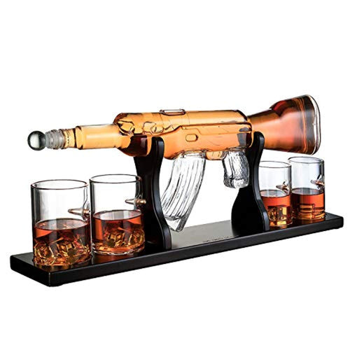 Gun Large Decanter Set Bullet Glasses - Limited Edition Mohogany Wooden Base - EK CHIC HOME