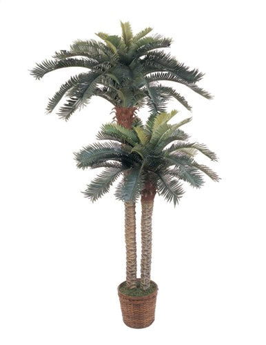 6ft. & 4ft. Sago Palm Double Potted Silk Tree - EK CHIC HOME