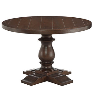 Charles Round Solid Wood Dining Table Brown - EK CHIC HOME