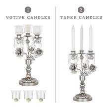 Load image into Gallery viewer, Madeleine Antique Silver Metal Candelabra Centerpiece 3 Votive Candle Taper - EK CHIC HOME