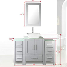 "Load image into Gallery viewer, 48"" Bathroom Vanity Glass Top Single Sink Grey Paint w/Mirror Faucet and Drain set - EK CHIC HOME"
