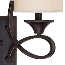 Load image into Gallery viewer, Two-Light Indoor Wall Fixture, Amber Bronze Finish with Beige Fabric Shades - EK CHIC HOME