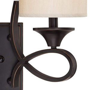 Two-Light Indoor Wall Fixture, Amber Bronze Finish with Beige Fabric Shades - EK CHIC HOME