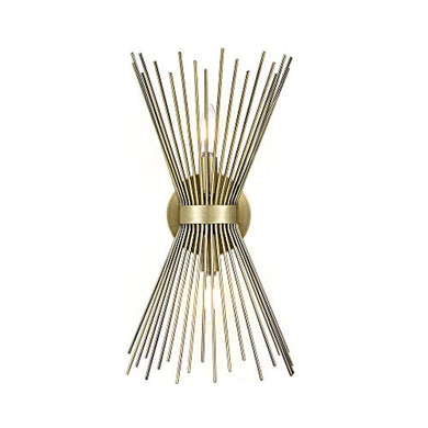 Rivet Mid-Century Modern Antique Gold 2-Light Starburst Wall Sconce, 17.5