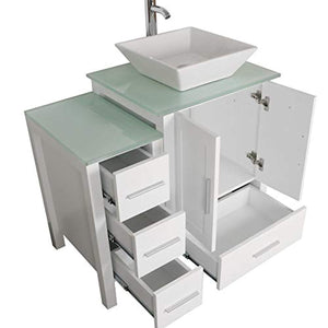 "Homecart 36"" White Bathroom Vanity Cabinet with Glass Top Vessel Sink Mirror Faucet and Drain - EK CHIC HOME"