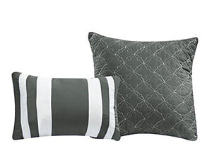 12 Piece Gray Comforter Set with Sheets Queen - EK CHIC HOME
