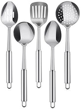 Load image into Gallery viewer, Kitchen Stainless Steel Cooking Utensils Set - 5-Piece Serving Spoons - EK CHIC HOME