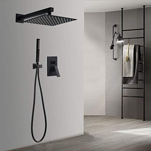 Wall Mount Shower System,Black Shower Faucet Set with Rain Shower Head - EK CHIC HOME