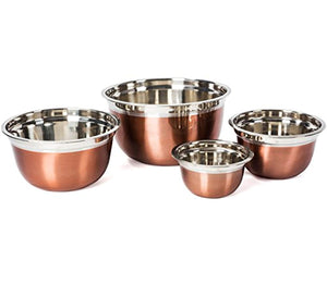 Stainless Steel Mixing Bowls-4 Pc set- Stackable Nesting Bowls - EK CHIC HOME