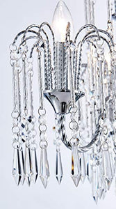 Classic Elegent Crystal Candle Candelabra Chandelier 3 Light ChromeDia 16 in x H 17 in - EK CHIC HOME