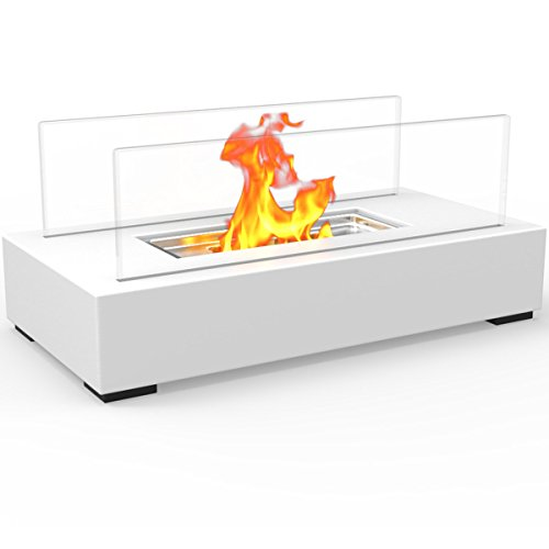 Regal Flame Utopia Ventless Indoor Outdoor Fire Pit Tabletop Portable Fire Bowl Pot Bio Ethanol Fireplace in White - EK CHIC HOME
