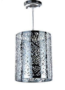 1-Light Chrome Finish Metal Shade Hanging Pendant Ceiling Lamp Fixture - EK CHIC HOME