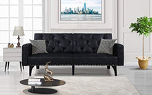 Load image into Gallery viewer, Modern Tufted Sleeper Futon Sofa with Nailhead Trim in White, Black (Black) - EK CHIC HOME