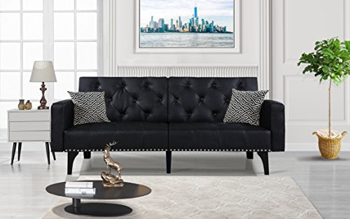 Modern Tufted Sleeper Futon Sofa with Nailhead Trim in White, Black (Black) - EK CHIC HOME