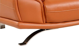 Modern Sectional Sofa in Orange Italian Leather with Headrest and Contemproary Design - EK CHIC HOME
