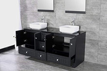 "Load image into Gallery viewer, 60"" Black Double Bathroom Vanity Cabinets and Ceramic Vessel Sink w/Mirror Combo Faucet - EK CHIC HOME"