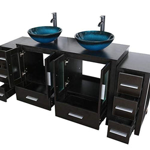 "72"" Black Bathroom Vanity Cabinet and Sink Combo Double Top Black Wood Texture w/Faucet Drain and Mirror - EK CHIC HOME"