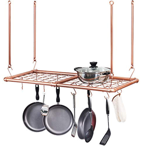 Copper Tone Industrial Pipe Kitchen Ceiling Hanging Pot & Pan Rack - EK CHIC HOME