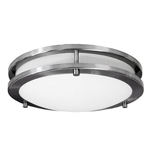 "Saturn 12"" Surface Mount Ceiling Light, Brushed Nickel with Opal Glass Globe, 12""L x 12""W x 3""H - EK CHIC HOME"