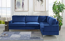 Load image into Gallery viewer, Velvet Sectional Sofa, L-Shape Couch (Navy) - EK CHIC HOME