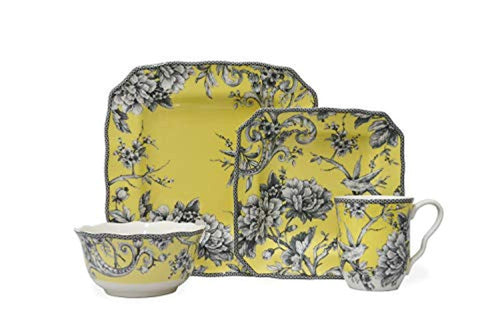 Yellow 16 Piece Dinnerware Set Square - EK CHIC HOME