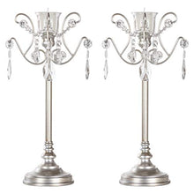 Load image into Gallery viewer, Tiffany 2-Piece Vintage Silver Metal Candelabra Set, Votive Candle Taper - EK CHIC HOME