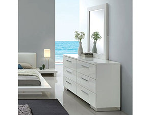 Beautiful White High Gloss Lacquer Coating Queen Size Bed Dresser Mirror Nightstand 4pc - EK CHIC HOME
