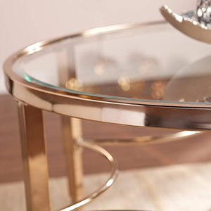 Thessaly Cocktail Table, Metallic Gold Finish - EK CHIC HOME