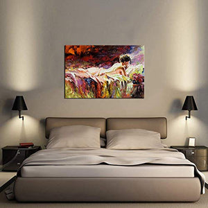 Modern Abstract Woman Canvas Painting Wall Art Nude - EK CHIC HOME