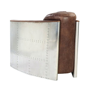 Luxurious Retro Brown Leather & Aluminum Chair - EK CHIC HOME