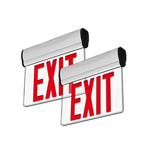 2 Pack - UL Certified - Hardwired Red LED Edge Light Exit Sign - EK CHIC HOME