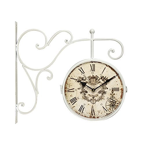 White Iron Round Double-Sided Wall Hanging Clock with Scroll Wall Mount - EK CHIC HOME