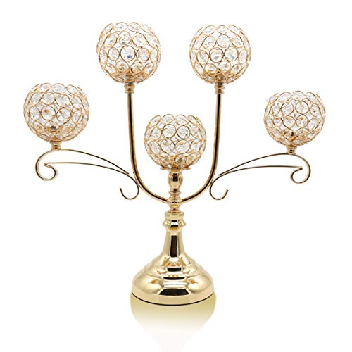 Chic 5 Arms Bowl Ball Crystal Candelabra/Candlesticks/Candle Holders - EK CHIC HOME