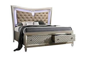 LUXURY 6-Piece Hayley Queen Size Bedroom Set. Bed, Dresser, Mirror, Chest & 2 Night Stands - EK CHIC HOME