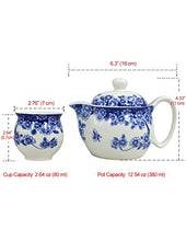 Load image into Gallery viewer, Porcelain Butterfly Floral Tea Set (Tea Pot w. Infuser + 6 Dual Layer Tea Cups) in Gift Box - EK CHIC HOME