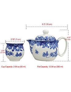 Porcelain Butterfly Floral Tea Set (Tea Pot w. Infuser + 6 Dual Layer Tea Cups) in Gift Box - EK CHIC HOME
