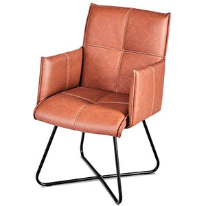 2Pcs Dining Chairs Leisure Accent Armchairs PU Leather - EK CHIC HOME