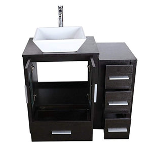"72"" Bathroom Vanity Cabinet and Double Sink Combo Black Wood w/Faucet Sink and Drain - EK CHIC HOME"