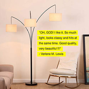 Modern LED Arc Floor Lamp with Marble Base - 3 Hanging Lights - EK CHIC HOME