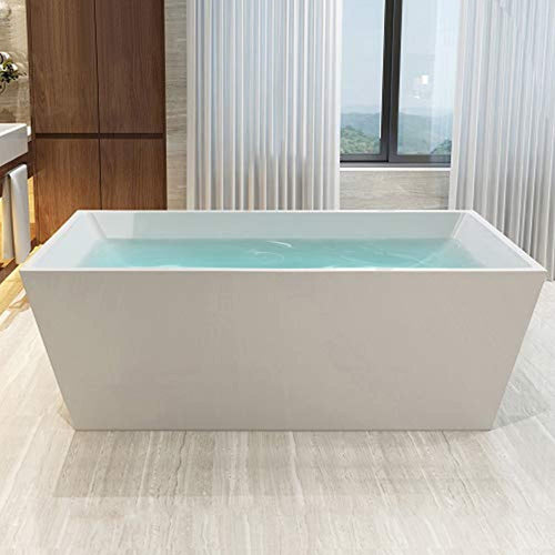 67-Inch Freestanding Acrylic Bathtub with Chrome Finish - EK CHIC HOME