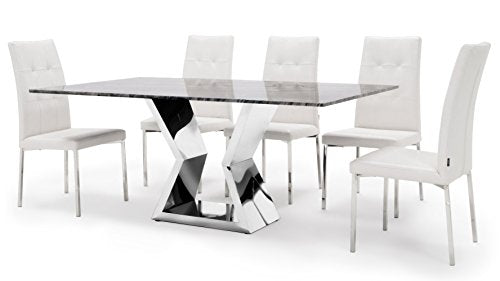 Chic Modern Dining Table With Marble Top And Chrome Base