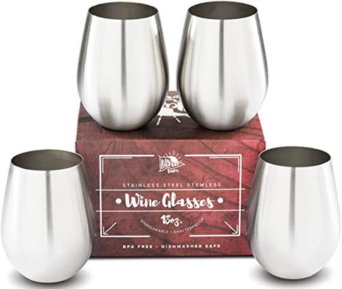 Premium Solid Stainless Steel Wine Glasses - Stemless Set of 4 - EK CHIC HOME
