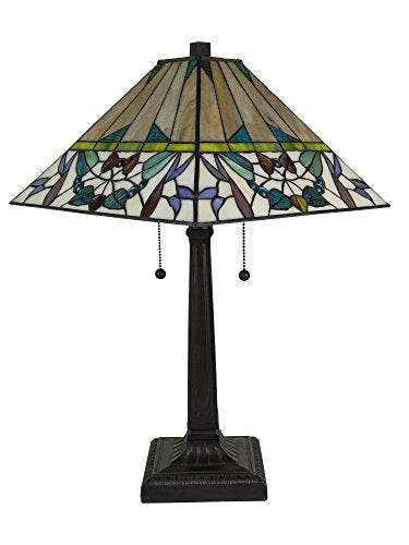 Tiffany Multi-Color Mission Table Lamp 22 Inches Tall - EK CHIC HOME