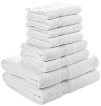 Load image into Gallery viewer, Premium 8 Piece Towel Set (White); 2 Bath Towels, 2 Hand Towels and 4 Washcloths - Cotton - Machine Washable, Hotel Quality - EK CHIC HOME