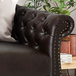 Chesterfield Tufted Bonded Leather Sofa with Scroll Arms - EK CHIC HOME