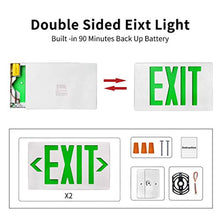 Load image into Gallery viewer, Exit Emergency Combo Light with Backup-Battery-(Green, 6 Pack) - EK CHIC HOME