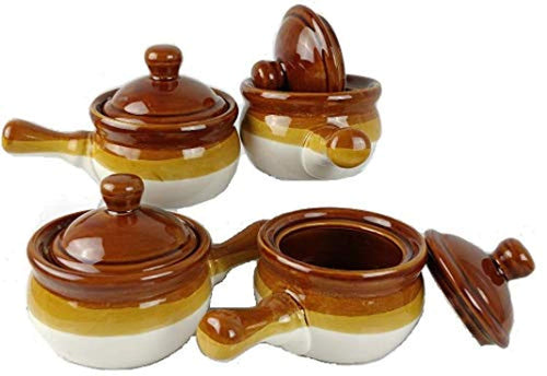 Individual French Onion Soup Crock Chili Bowls with Handles and Lids- 4 Pack - EK CHIC HOME