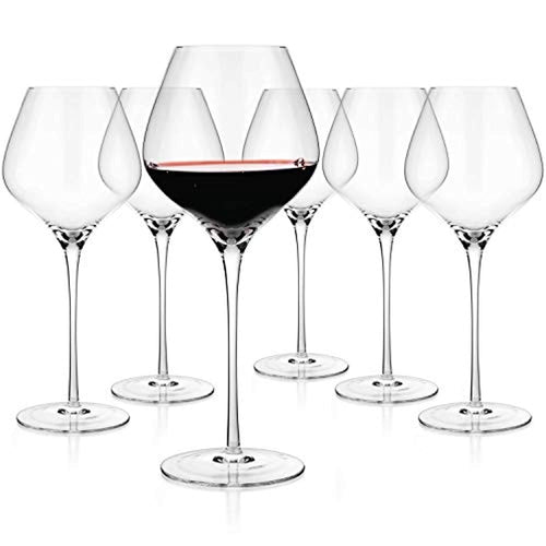 Crystal Wine Large Glasses 24-ounce, Set of 6 - EK CHIC HOME